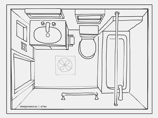 Sketch bathroom renovation for Bathroom designs drawing