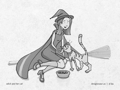 witch_feeding_cat_by_al_lau