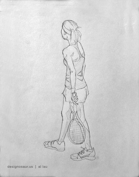 tennis female standing